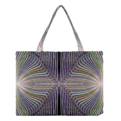 Color Fractal Symmetric Wave Lines Medium Tote Bag