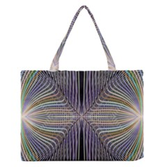 Color Fractal Symmetric Wave Lines Medium Zipper Tote Bag by Simbadda