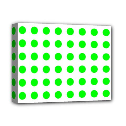 Polka Dot Green Deluxe Canvas 14  X 11  by Mariart