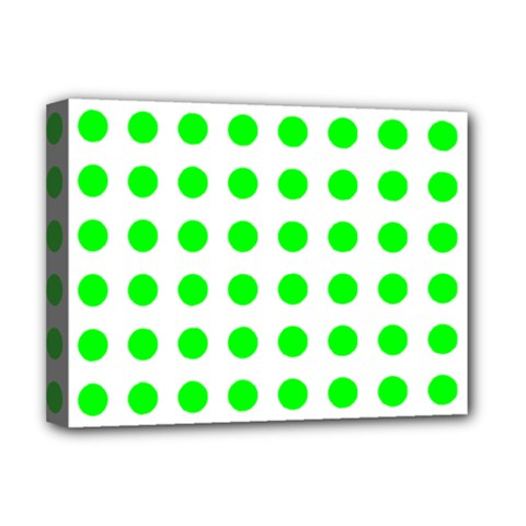 Polka Dot Green Deluxe Canvas 16  X 12   by Mariart