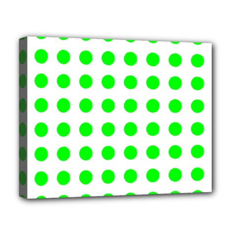 Polka Dot Green Deluxe Canvas 20  X 16   by Mariart