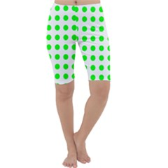 Polka Dot Green Cropped Leggings  by Mariart
