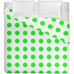 Polka Dot Green Duvet Cover Double Side (king Size) by Mariart