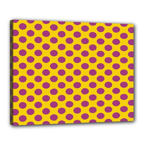 Polka Dot Purple Yellow Orange Canvas 20  X 16  by Mariart