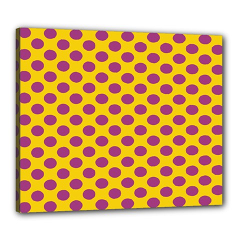 Polka Dot Purple Yellow Orange Canvas 24  X 20  by Mariart
