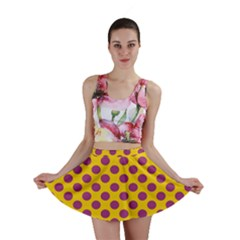 Polka Dot Purple Yellow Orange Mini Skirt by Mariart