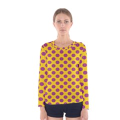 Polka Dot Purple Yellow Orange Women s Long Sleeve Tee by Mariart