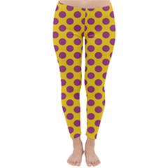 Polka Dot Purple Yellow Orange Classic Winter Leggings by Mariart