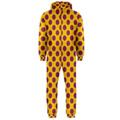 Polka Dot Purple Yellow Orange Hooded Jumpsuit (men)  by Mariart