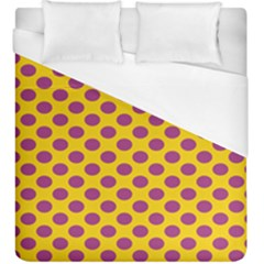 Polka Dot Purple Yellow Orange Duvet Cover (king Size) by Mariart