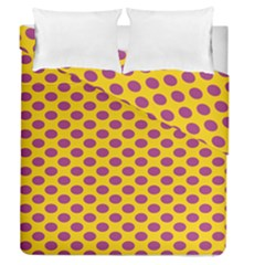 Polka Dot Purple Yellow Orange Duvet Cover Double Side (queen Size) by Mariart