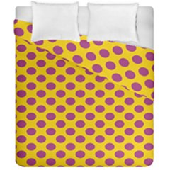 Polka Dot Purple Yellow Orange Duvet Cover Double Side (california King Size) by Mariart