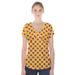 Polka Dot Purple Yellow Orange Short Sleeve Front Detail Top by Mariart