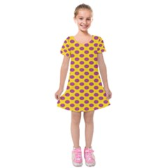 Polka Dot Purple Yellow Orange Kids  Short Sleeve Velvet Dress by Mariart