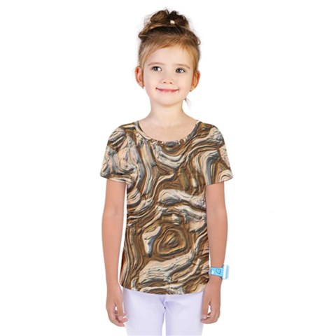 Fractal Background Mud Flow Kids  One Piece Tee by Simbadda