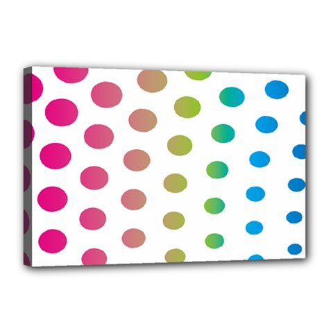 Polka Dot Pink Green Blue Canvas 18  X 12  by Mariart