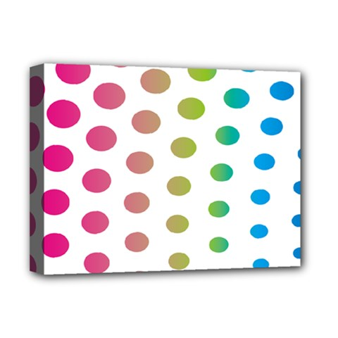 Polka Dot Pink Green Blue Deluxe Canvas 16  X 12   by Mariart