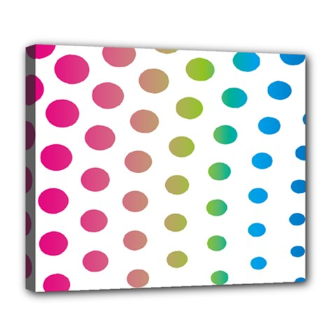 Polka Dot Pink Green Blue Deluxe Canvas 24  X 20   by Mariart