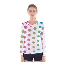Polka Dot Pink Green Blue Women s Long Sleeve Tee by Mariart