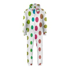 Polka Dot Pink Green Blue Hooded Jumpsuit (kids) by Mariart