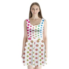 Polka Dot Pink Green Blue Split Back Mini Dress