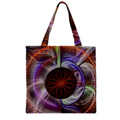 Background Image With Hidden Fractal Flower Zipper Grocery Tote Bag by Simbadda
