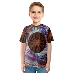 Background Image With Hidden Fractal Flower Kids  Sport Mesh Tee