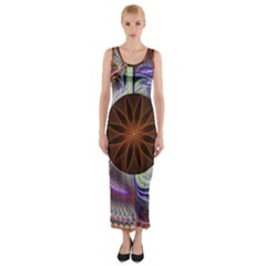 Background Image With Hidden Fractal Flower Fitted Maxi Dress by Simbadda