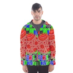 Background With Fractal Digital Cubist Drawing Hooded Wind Breaker (men)