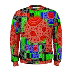 Background With Fractal Digital Cubist Drawing Men s Sweatshirt
