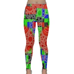 Background With Fractal Digital Cubist Drawing Classic Yoga Leggings