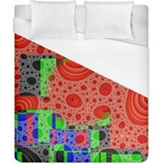 Background With Fractal Digital Cubist Drawing Duvet Cover (california King Size) by Simbadda