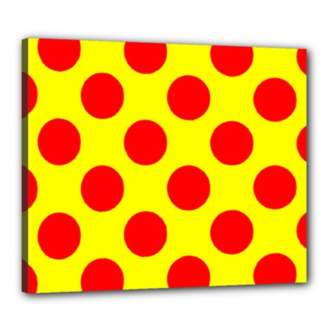 Polka Dot Red Yellow Canvas 24  X 20  by Mariart