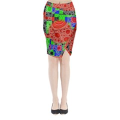 Background With Fractal Digital Cubist Drawing Midi Wrap Pencil Skirt