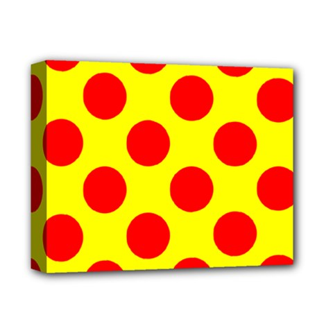 Polka Dot Red Yellow Deluxe Canvas 14  X 11  by Mariart