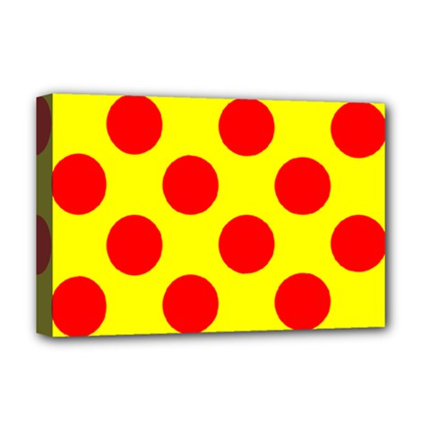 Polka Dot Red Yellow Deluxe Canvas 18  X 12   by Mariart