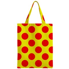 Polka Dot Red Yellow Zipper Classic Tote Bag by Mariart