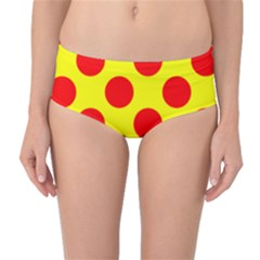 Polka Dot Red Yellow Mid Waist Bikini Bottoms by Mariart