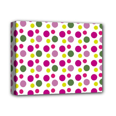 Polka Dot Purple Green Yellow Deluxe Canvas 14  X 11  by Mariart