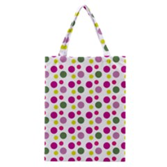 Polka Dot Purple Green Yellow Classic Tote Bag by Mariart