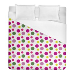 Polka Dot Purple Green Yellow Duvet Cover (full/ Double Size) by Mariart