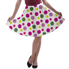 Polka Dot Purple Green Yellow A-line Skater Skirt by Mariart