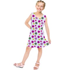 Polka Dot Purple Green Yellow Kids  Tunic Dress by Mariart