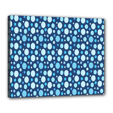 Polka Dot Blue Canvas 20  X 16  by Mariart