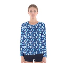 Polka Dot Blue Women s Long Sleeve Tee by Mariart