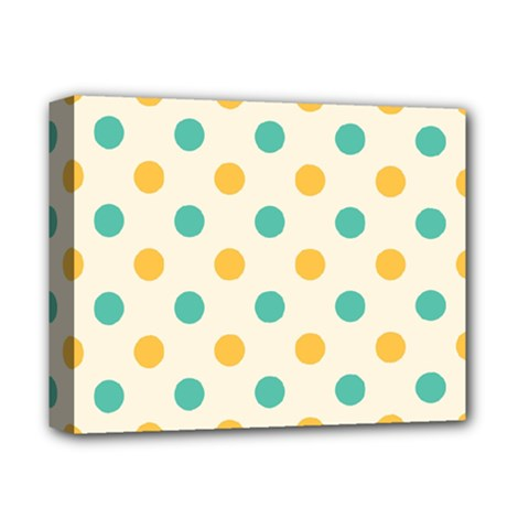 Polka Dot Yellow Green Blue Deluxe Canvas 14  X 11  by Mariart