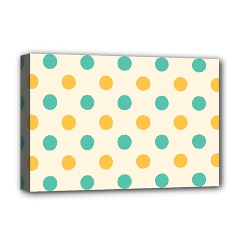 Polka Dot Yellow Green Blue Deluxe Canvas 18  X 12   by Mariart