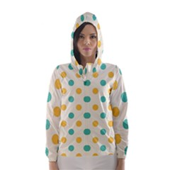Polka Dot Yellow Green Blue Hooded Wind Breaker (women)