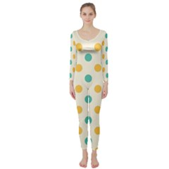 Polka Dot Yellow Green Blue Long Sleeve Catsuit by Mariart