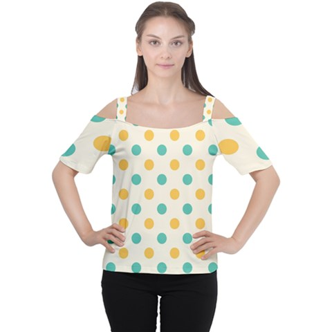 Polka Dot Yellow Green Blue Women s Cutout Shoulder Tee by Mariart